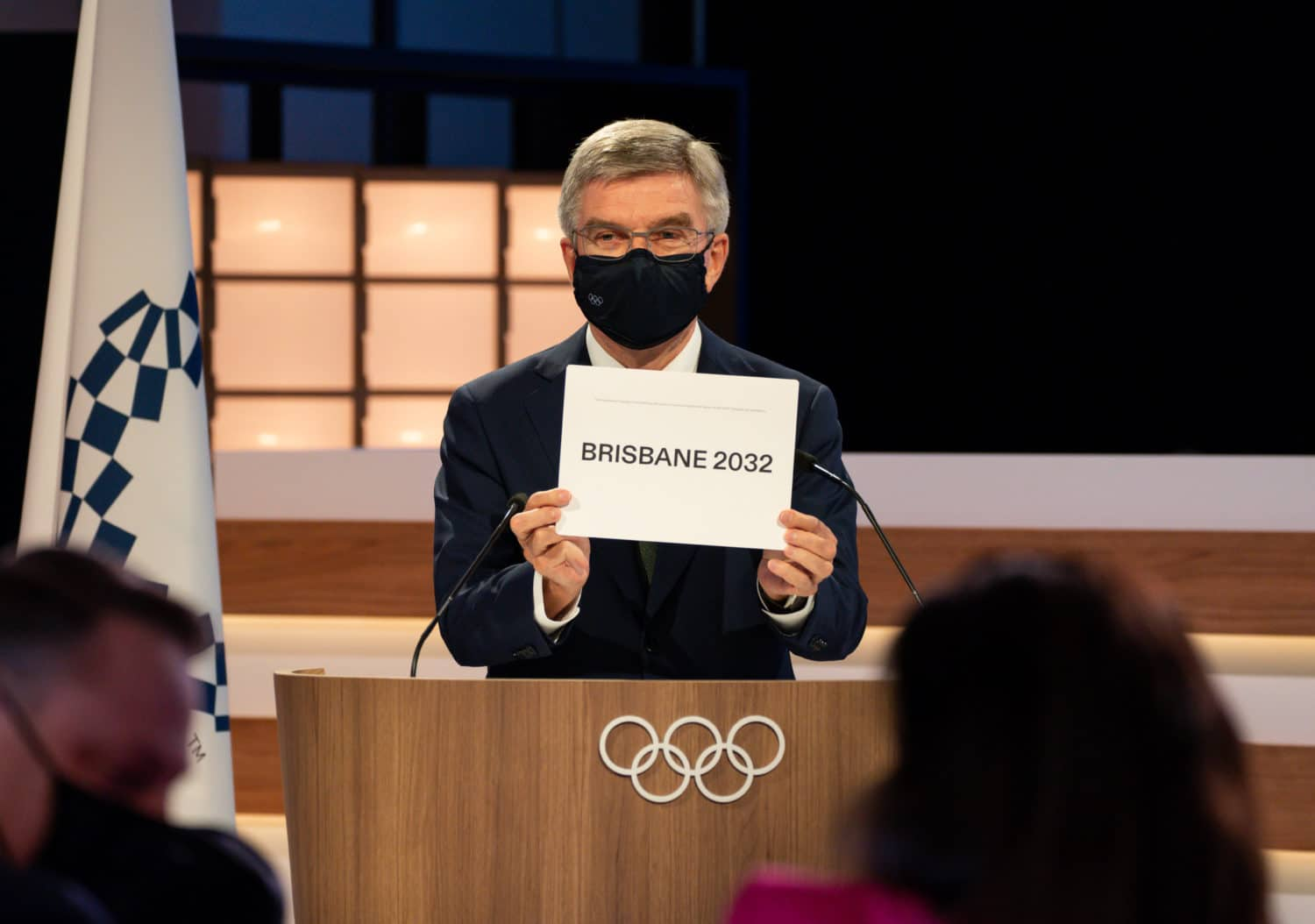 President Thomas Bach announces Brisbane as the host city for the XXXV Olympiad, during the second day of the 138th IOC Session at the Okura Hotel in Tokyo ahead of TOKYO 2020, the XXXII IOC Olympic Games.